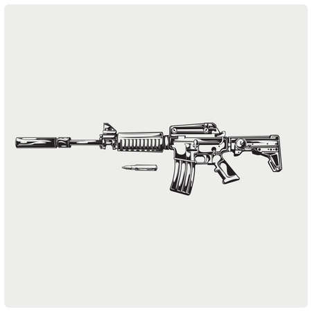 Icona della pistola. M16. Vettoriali