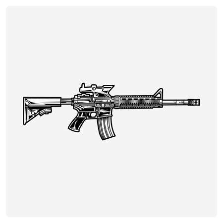 Illustration vector AR-15 rifle