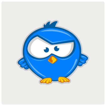 tweet: Blue tweet bird vector logo. Illustration