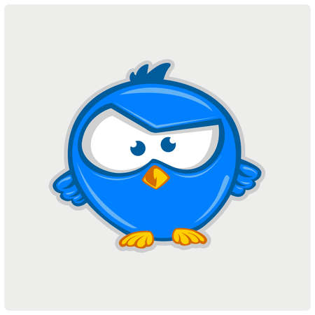 Blue tweet bird vector logo. Illustration
