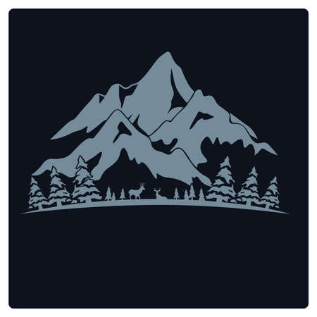 illustration t-shirt design and logo mountain camp