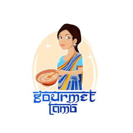 raw materials: Indian food logo. Vector illustration. Illustration