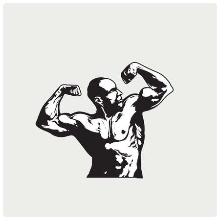 Bodybuilder fitness model illustration.