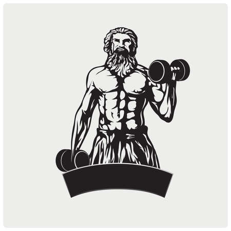 Illustration muscular man with dumbbells in his hands. Logo and mascot