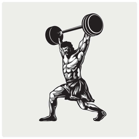 Passion sports athlete in action logo. Strong male weightlifter. Illustration