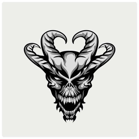 satanas: ilustración de la cabeza del diablo Vectores