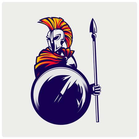 Illustration of Spartan warrior. Illustration