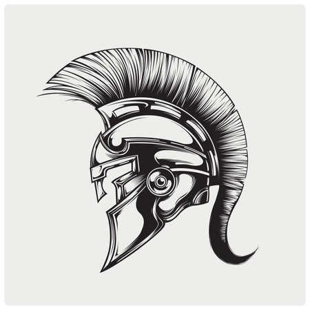 casco de guerrero de Esparta. Ilustración del vector.