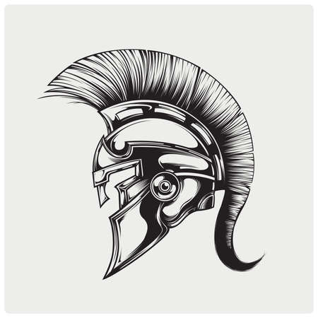 Sparta strijderhelm. Vector illustratie. Stock Illustratie