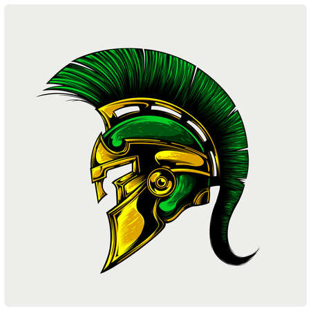 Sparta warrior helmet. Vector illustration.