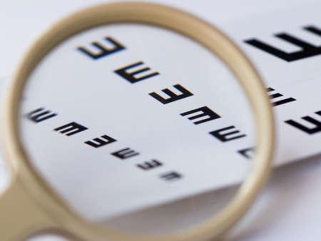 sight chart: Evoluci�n del valor de comprobaci�n de la vista Foto de archivo
