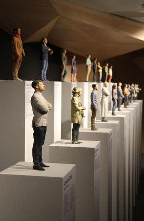bussinessman: Statues of Italian bussinessman inside Italian pavillon at Expo 2015 in Milan