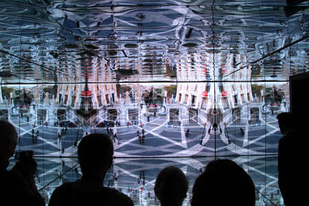 mirror image: Mirror image of Italian buildings and sculptures inside Italian pavilion at Expo 2015 in Milan Editorial