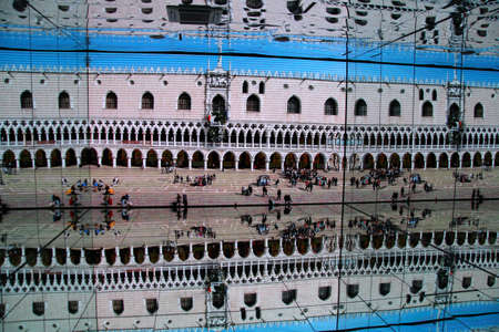 mirror image: Mirror image of Italian buildings and sculptures inside Italian pavillon at Expo 2015 in Milan
