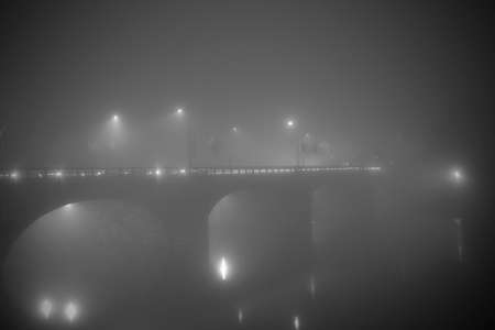 vittorio emanuele: Vittorio Emanuele I Bridge in the fog in Turin Italy