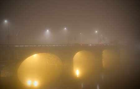 vittorio: Vittorio Emanuele I Bridge in the fog in Turin Italy