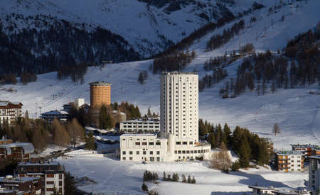 skying: Landscape of Sestriere Turin Italy in winter