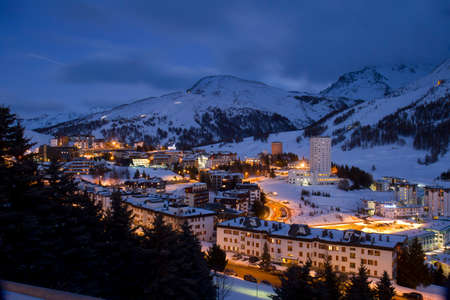 skying: Landscape of Sestriere Turin Italy  at blue hour Stock Photo