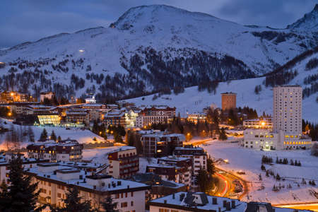 skying: Landscape of Sestriere Turin Italy at blue hour