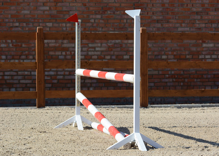 Horse show jumping obstacles on stable. Horse show jumping in details. Stockfoto
