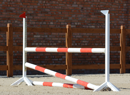 Horse show jumping obstacles on stable. Horse show jumping in details. Stock Photo