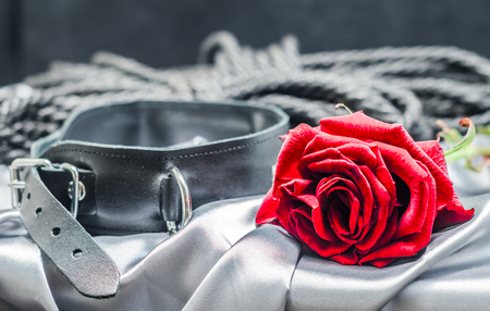 bdsm静物、黒人間の襟、緋色のバラ、黒のハンク
