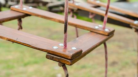 fragment of a wooden suspension bridge close-up