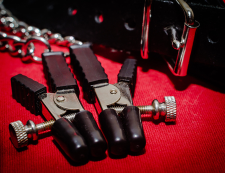 bdsm accessory human collar and accessory nipple clasp with metal chain on a red background close-up 스톡 콘텐츠