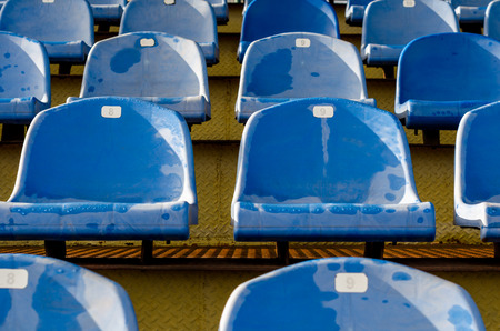 rows of identical wet blue seats in the empty stadium bleachers