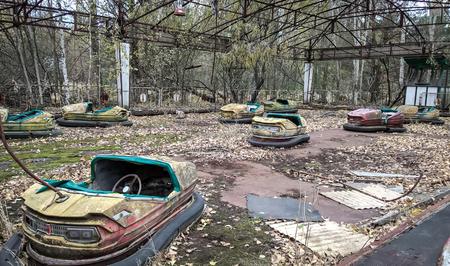 abandoned amusement park in Chernobyl Stock Photo