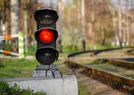 semaphore with a red signal near the railway Stock Photo