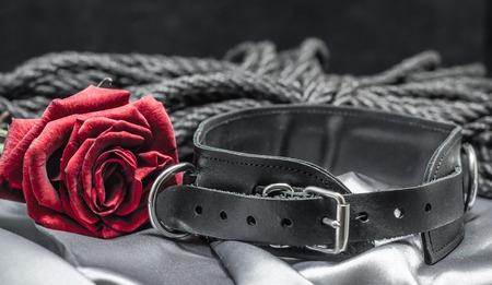 still life, black human collar, scarlet rose, hank of black rope for shibari on a gray sheet on a black background
