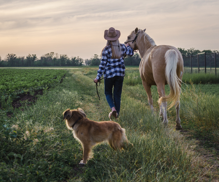 young blonde girl in a hat and a plaid shirt walks with a horse and dog in the evening on a farm in the village