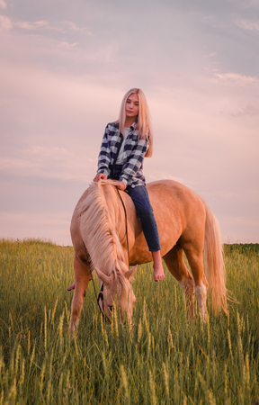 young blonde girl wearing blue jeans and a plaid shirt sits on a horse on the field