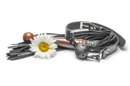 black leather lash with gag and yellow daisy flower on a white background