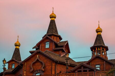 wooden architecture dome of a modern Orthodox Christian church Stock Photo