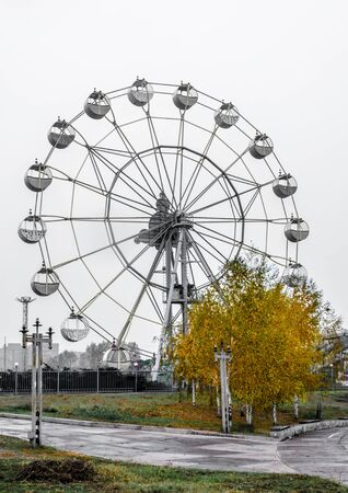 theme park Attraction Ferris wheel with bright yellow autumn tree against the gray sky