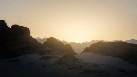 sunset in the mountains in the desert in Egypt in Sharm El Sheikh Stok Fotoğraf