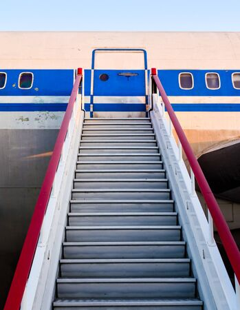 gangway of an old civilian airliner in perspective close up
