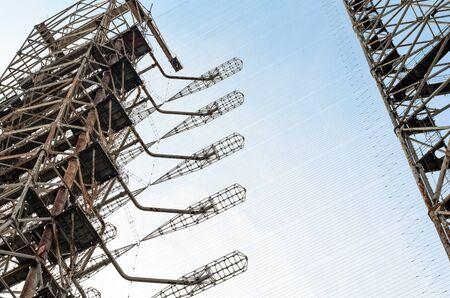 large high secret army military radar against the blue sky in Chernobyl Ukraine