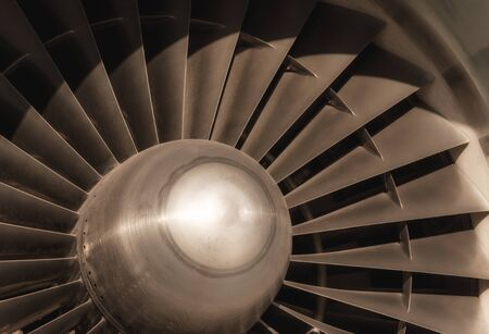 abstract technical industrial background fragment of airplane turbine detail closeup