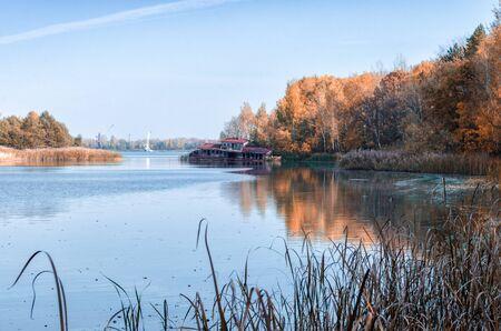 autumn landscape river and Chernobyl forest in Ukraine Stok Fotoğraf