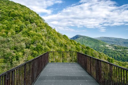 observation deck in canyon in Georgia in autumn without people