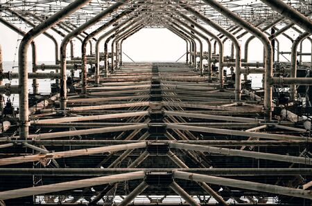 symmetry pattern industrial engineering old secret army soviet radar in Chernobyl Ukraine
