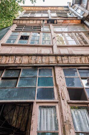old tall house in Tbilisi in Georgia