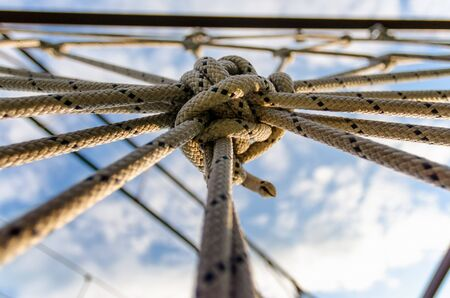 many ropes and one big knot close up Stok Fotoğraf - 149436868