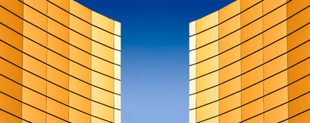 architectural abstract pattern fragment of a wall of a yellow modern building on a blue background