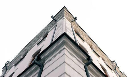 bottom view corner of a vintage stone house retro architecture