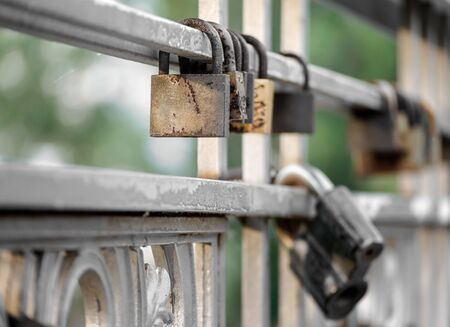 old iron locked padlock abstract vintage background