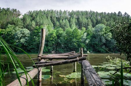 river and green forest on a mountain without people landscape Ukraine Archivio Fotografico - 150267987